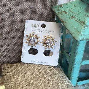 Jewelry - CZ Sunburst earrings gold tone